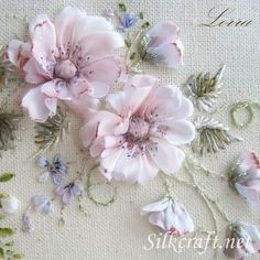 Ribbon embroider - pink flowers.
