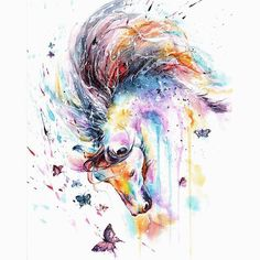 white horse with butterflies - mounted original painting Watercolor Horse, Watercolor Paintings, Original Paintings, Watercolour, Horse Drawings, Animal Drawings, Art Drawings, Aquarell Tattoos, Equine Art
