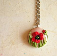Poppy  Necklace, Polymer clay round  0.71 inches pendant. $26.00, via Etsy.