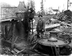 First type of steam donkey engine used in  red woods for skidding and loading logs