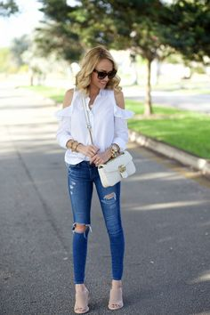 A Spoonful of Style: White Open Shoulder Top...
