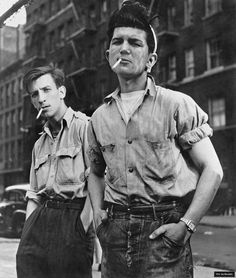 Lou Bernstein -  Untitled men with sleeves rolled up 1949. Back when men were ...
