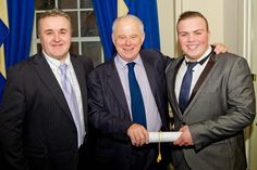 Stuart and Joe with Matthew Fort, collecting one of 8 gold medal awards at the Q Guild of Butchers Smithfield Awards in 2014 World Famous, Awards, Suit Jacket, Gold, Collection, Fashion, Moda, Fashion Styles, Jacket