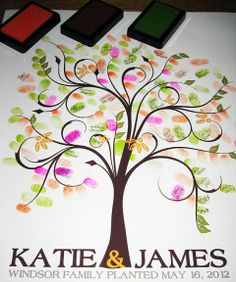 Guestbook....love this idea!!!! All of your guests pick a color and leave their finger print and sign their name!!!! Nicole.....you are in charge of painting this tree!! ;0)