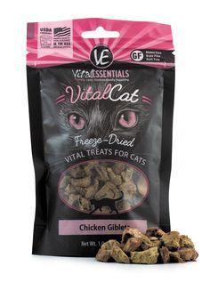 Vital Essentials Vital Cat Freeze-Dried Chicken Giblets Treats are packed with vital nutrients, made with only fresh, whole, single-sourced USDA animal protein to provide essential nutrition that cats instinctively crave. A purr-fect way to reward your feline with healthy and nutritious treats.