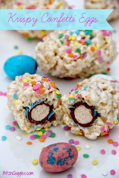 """""""Here comes Peter Cottontail hoppin' down the bunny trail. . .These Krispy Confetti Eggs are ooey, gooey and oh so yummy! What's the best part about these eggs? The surprise INSIDE, of course!Make these adorable rice krispy treats for your next Easter holiday gathering. #ricekrispytreats #easter #holiday #party #eastereggs  #treats #decorating #ideas #easterbasketidea #dessert"""
