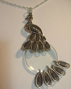 Vintage Style Magnifying Glass Oxidized Silver Peacock Pendant Necklace 5x