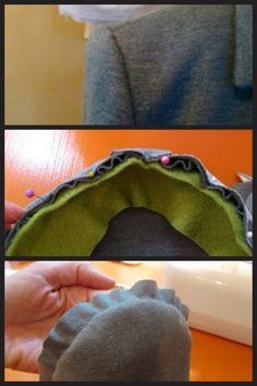 How to get a nice rounded sleeve edge on a coat jacket by sewing a bias piece of fleece to the curved seamline on the upper sleeve prior to attaching sleeve. Helpful sewing tips. This tip would be useful while sewing American Girl Doll coats as well.