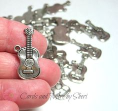 Antique Silver Guitar Charms 10 by CardsAndMoreBySheri on Etsy, $3.25