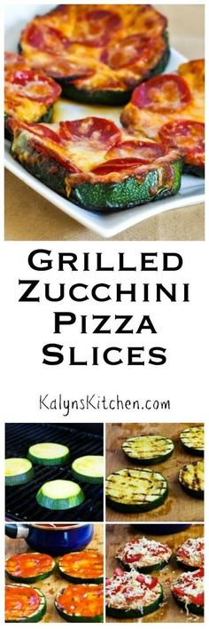 Grilled Zucchini Pizza Slices Grilled zucchini replaces the crust in these delic… Grilled Zucchini Pizza Slices Grilled zucchini replaces the crust in these delicious low-carb and gluten-free Grilled Zucchini Pizza Slices from KalynsKitchen Zucchini Pizzas, Grilled Zucchini, Grilled Pizza, Vegetable Dishes, Vegetable Recipes, Grilling Recipes, Cooking Recipes, Vegetarian Grilling, Healthy Grilling