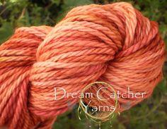 Hand Dyed Yarn SAMHAIN  SW Merino Bulky LongTrail 106y Orange Cranberry #DreamCatcherYarns #HandPaintedMillefioriCollection