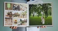like contrast in spread. maybe have ceremony details pics (flowers, pew decor, programs, guestbook) with big pic of ceremony on next page? Wedding Photo Books, Wedding Photo Albums, Wedding Book, Wedding Ideas, Wedding Album Layout, Wedding Album Design, Family Photo Album, Album Book, Book Layout