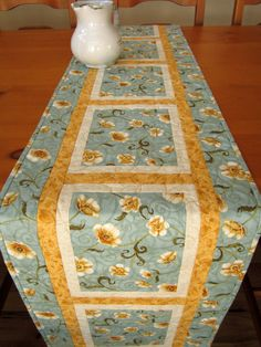 Table Runner Quilted Light Blue Floral Long by PatchworkMountain, $64.00