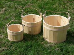 Jake's Country Trading Post - SM UNSTAINED WOODEN BUCKET, $19.95 (http://www.jakeshomeaccents.com/sm-unstained-wooden-bucket/)