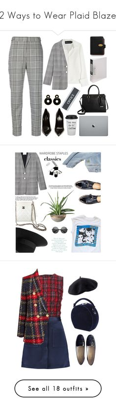 """12 Ways to Wear Plaid Blazers"" by polyvore-editorial ❤ liked on Polyvore featuring plaidblazers, Alexander Wang, Brandon Maxwell, TIBI, Yves Saint Laurent, U.S. Stamp & Sign, Mulberry, office, Balmain and Maison Michel"
