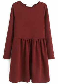 Red Round Neck Long Sleeve Pleated Dress US$31.31