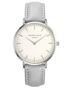 Rosefield, The Bowery. White and Silver Face, Grey Leather Strap.