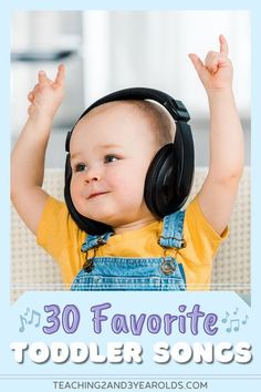 This collection of toddler songs are favorites with teachers, parents, and anyone with young children. Not only are they fun, but they also teach a variety of concepts! #toddler #songs #music #circletime #musicandmovement #playlist #age2 #printable #teaching2and3yearolds