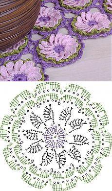 Crochet Motif Patterns, Crochet Lace Edging, Crochet Flower Tutorial, Crochet Leaves, Crochet Circles, Crochet Buttons, Granny Square Crochet Pattern, Crochet Diagram, Crochet Chart