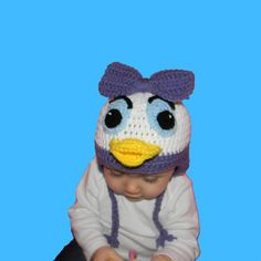 Crochet Daisy Duck Hat, Size Newborn, 3 Month, 6 Month, 1 year, 2T, 3T, 4T, 5T, Adult, Teen, Child, Toddler, Mickey Mouse Clubhouse, Disney