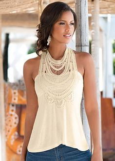 Natural (NA) Crochet Detail Top $27 Expect stunning reactions to the delicately detailed neckline on this top. ·  	Sizes: XS (2), S (4-6), M (8-10), L (12-14), XL (16)   ·  	Rayon/spandex. Made in USA   ·  	Style #Y44103 	More Details Orig. $34 SALE $27