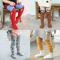 Gprince Girls Socks Knee High Stockings Tights Combed Cotton Cartoon Dancing Stocking Leggings Spring Autumn High Elastic
