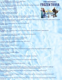 Free FROZEN trivia questions and FROZEN coloring sheet from @seriouskrystyn