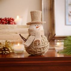 Add a rustic touch to your home with our adorable Jute & Burlap Snowman! #Kirklands #CozyChristmas #holidaydecor
