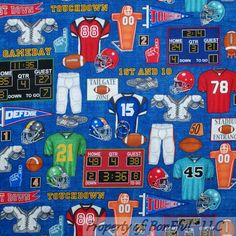 Fabric is NOT Sold by the yard, It IS Sold by the 1 QTY = 1 FQ; Fat Quarter (FQ) gives opportunity to cut larger pieces of fabric than from a regular Quarter Yard. Scrap Fabric Projects, Fabric Scraps, Blue Quilts, Cotton Quilts, Nfl Football, Red And White, Soccer, American, Sports