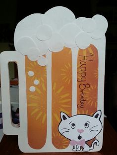 My version of the beer card... with a kitty for the cat lover who is receiving this :3