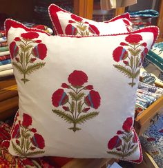 Hand block printed pillow, with goose feather filling. These designs incorporate a large 'bouta' (Hindi for large flower) which derives from classic Indian Mughal design. Made by Pacific & Rose Textiles — Available for purchase at Seaside Gallery and Goods in Newport Beach, California