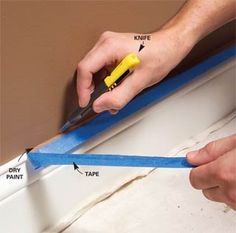 Love Love Love blue painters tape...but when removing, always use a utility knive blade or exacto knife to cut the edge to keep the tape from peeling away the paint and to keep a sharp painted edge.