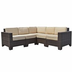 Modular Cambridge Outdoor Rattan Garden Corner Sofa Set in Brown All Weather Furniture