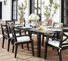 Hampstead Painted Rectangular Extending Dining Table Chair Set - Black #potterybarn