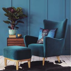 Elsa Wingback Chair and Footstool - View All Chairs - Chairs - Furniture