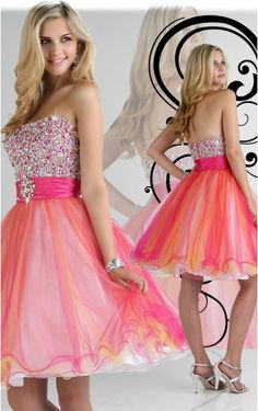 Multi Colours A-line Knee-length Strapless Dress