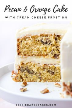 A two-layer orange drizzle cake filled with chopped pecans and decorated with orange cream cheese frosting. This easy layer cake recipe is the perfect Spring bake recipe! #jessiebakescakes #springbakingideas #orangepecancake #orangedrizzlecake #creamcheesefrosting #citruscake #easyeasterrecipes #easycakerecipes #orangecake Drip Cake Recipes, Pecan Recipes, Best Cake Recipes, Dessert Recipes, Easy Easter Recipes, Easy Cupcake Recipes, Orange Drizzle Cake, Citrus Cake, Pecan Cake
