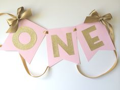 Paper Trail by Laura B. — HIGH CHAIR Banner in Pink & Gold. 1st Birthday Decorations. ONE High Chair Banner.