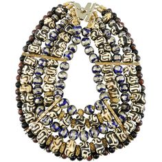 Pre-owned Tony Duquette 1999 Necklace in Box - Antique African and... ($4,500) ❤ liked on Polyvore featuring jewelry, necklaces, beaded necklaces, bib statement necklace, vintage jewelry, bead necklace, african jewelry and antique jewelry