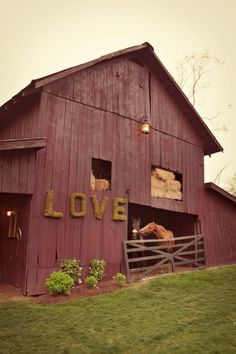 We saw a barn with two carved hearts in VA (which we are totally doing) and I love this love sign! Perfect!