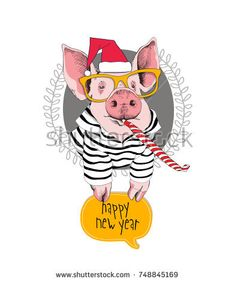Portrait of the pink Pig in a red Santa's cap, striped cardigan, yellow glasses and with a funny party whistle blowing on a gray background. Funny English Jokes, New Funny Jokes, Funny Cartoons, Party Background, Christmas Background, Mason Jar Party, Pug, Funny Baby Quotes, Funny Illustration