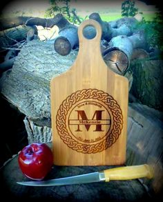 Personalized Cutting Board With Handle Celtic by BPLaserEngraving