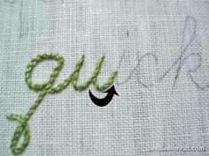 tutorial for stitching cursive..