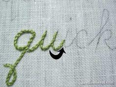 tutorial for stitching cursive..