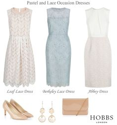 Hobbs pastel lace cocktail dresses evening wedding reception occasion outfits