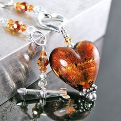 Amber Murano Glass Heart Necklace Sterling Silver by DorotaJewelry