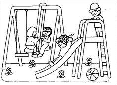 Hasil gambar untuk playground coloring page for kids
