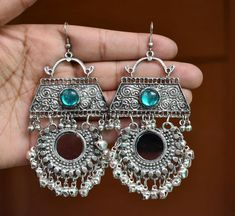 Black And Silver Earrings Key: 3593921774 Indian Jewelry Earrings, Silver Jewellery Indian, Indian Wedding Jewelry, Jewelry Design Earrings, Silver Earrings, Jewelery, Silver Jewelry, Silver Ring, Gold Jewellery