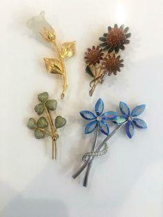Vintage Enameled Painted Flower Stem Brooch Pin Back Finding