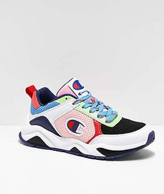 """Step up all your athleisure looks with the Champion 93 Eighteen SP Block White & Multicolor Shoes. Featuring Champion's iconic """"C"""" logo detailing throughout along with a white and black sole, coming in a crazy multicolored design, these loud shoes will ad Tenis Champion, Champion Shoes, Balenciaga Shoes, Gucci Shoes, Athletic Wear Brands, Athletic Shoes, Adidas Shoes Women, Women Nike, Champion Clothing"""